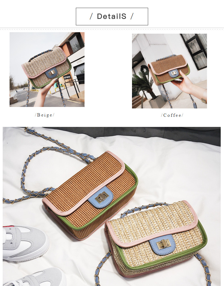 SUNNY SHOP Straw Crossbody Ladies Latest Handbags Small Chains Bag ... 8c3926bda2