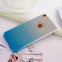 Gradient Color TPU Glitter Film 2 in 1 Protective Case For iPhone 7 Plus 7 6/6S Plus 6 6S 5 5S 4 4S Case