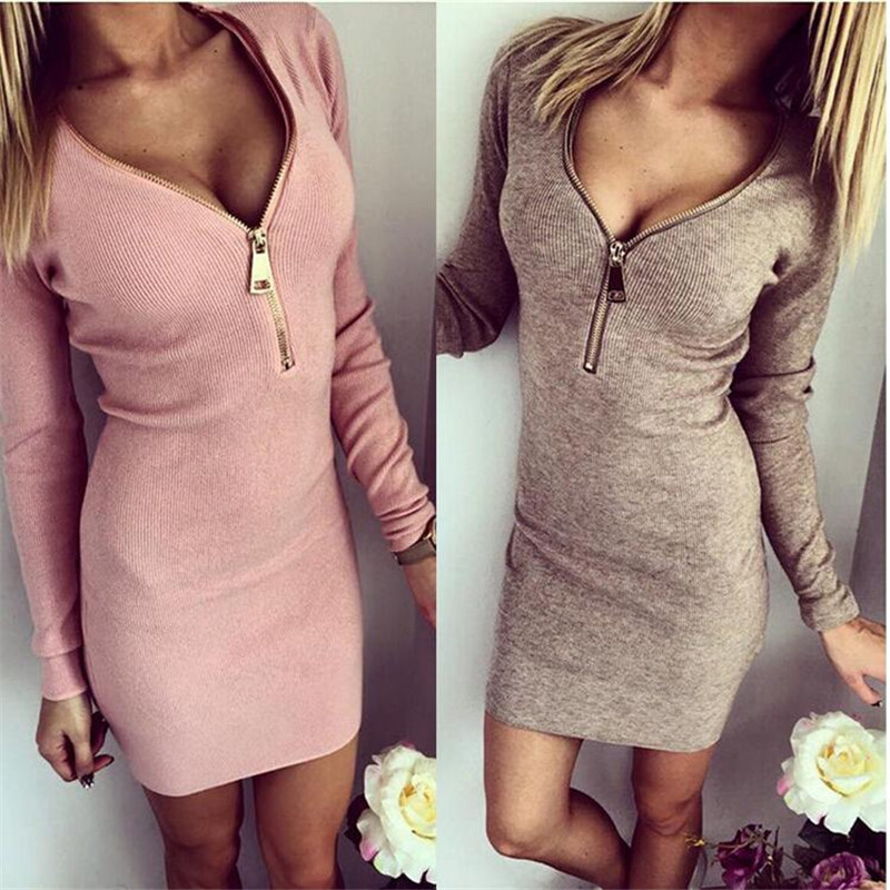 2017 Women New Fashion Knitted Dess Sexy Bodycon Long Sleeve Casual Dresses Autumn Winter Metal Zipper Mini Party Dress Vestidos