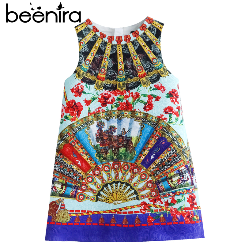 Beenira Children Sleeveless Dresses 2017 New European And American Style Girls Printing Summer Dress Design 14Y baby Girls Dress<br>