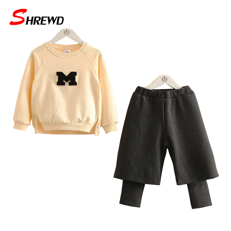 Set Children Girl 2017 Autumn New Casual Letter Girls Clothes Sets Long Sleeve Tops+Solid Pants Simple Baby Gilrs Clothes 4149Z<br><br>Aliexpress