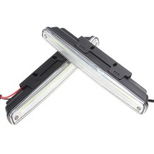 Hot sale! 2 x 18cm COB LED Super White Lamp Car / Vehicle Daytime Running Light With Installation Bracket Warning / Security Lam