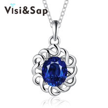 Visisap Vintage Fascinating Wedding Necklaces for women Blue Flower cubic zirconia Pendant jewelry gifts necklace VLKN895-C(China)