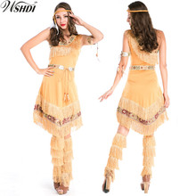 5Pcs High Quality Ladies Indian Costume for Girls Native American Indian Wild West Costume Halloween Fancy Dress(China)