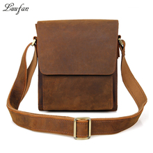 Men's vintage genuine leather iPad messenger bag Thick Cow leather shoulder bag small casual crossbody bag Cowhide briefcase