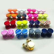 1 pair fashion men new hot cool fake ear plugs stud earrings 8mm stainless steel candy color spring summer gold jewelry piercing(China)