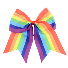 Cheerleader hairbow Prefessional Cheer Bows Elastic Band Girl's Gradient color Cheerleading Hair Bow