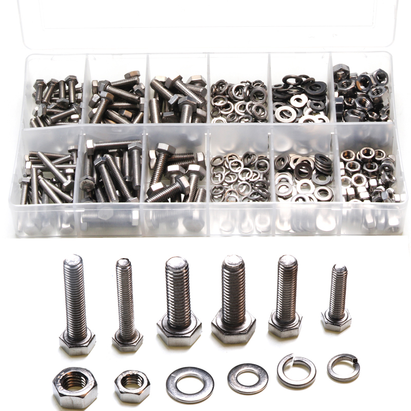 475PCS Stainless Steel Metric Hex Bolts Head Cap Hexagon Socket Nuts Screw with Lock Silver Flat / Elastic Washers M4 M5 M6 Kit <br>