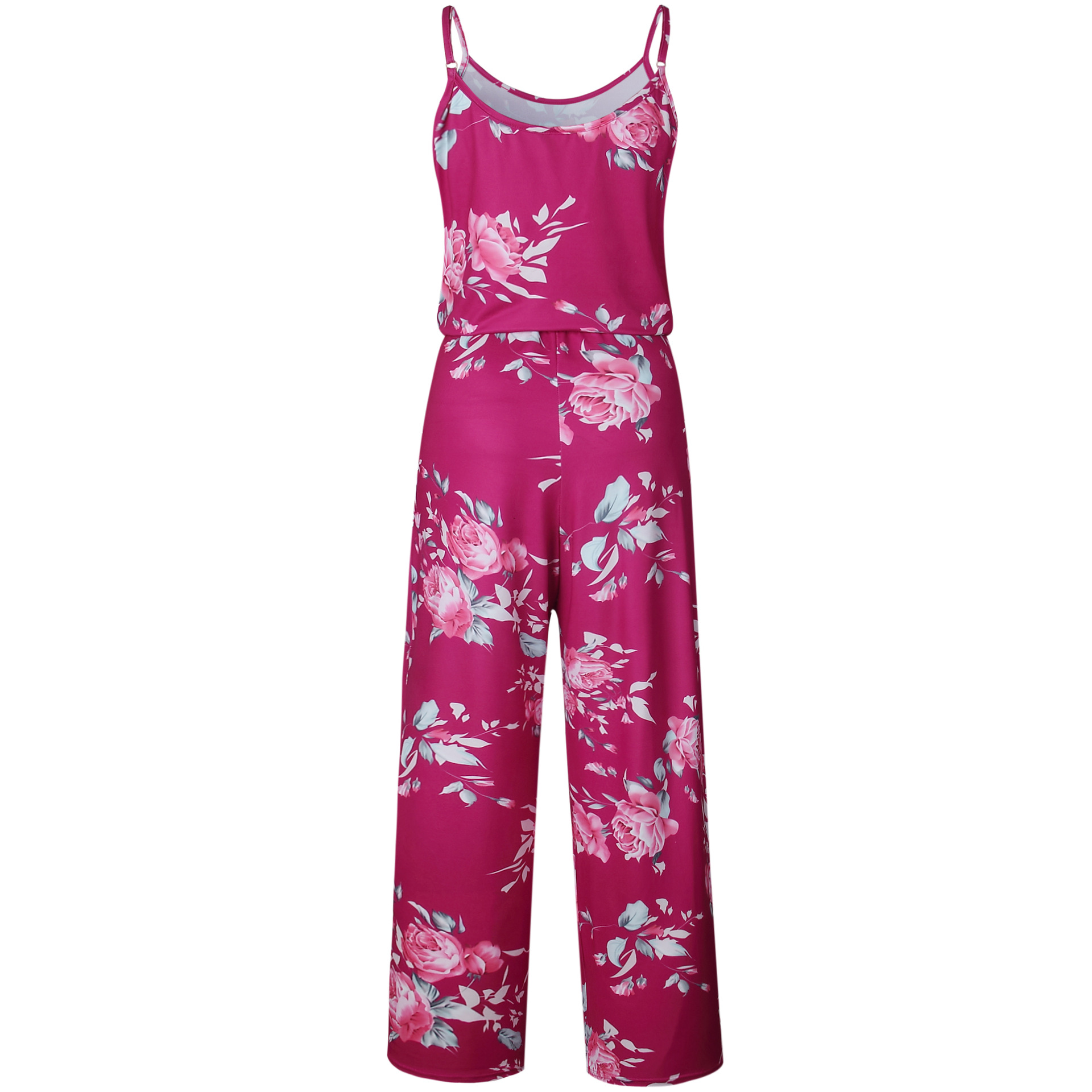Spaghetti Strap Jumpsuit Women 2018 Summer Long Pants Floral Print Rompers Beach Casual Jumpsuits Sleeveless Sashes Playsuits 37