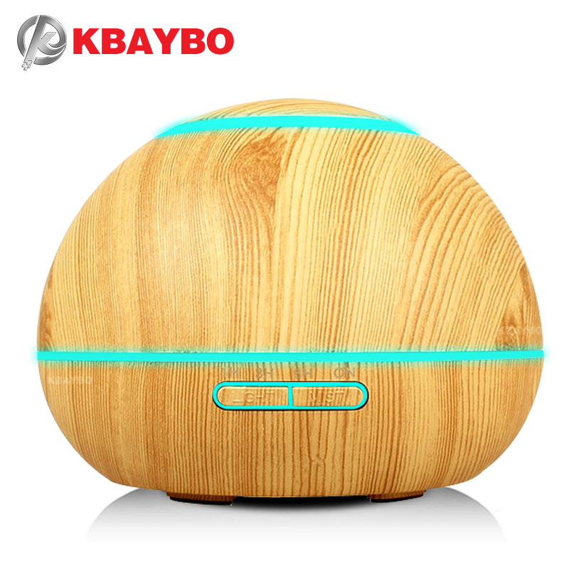 300ml Ultrasonic Humidifier Aroma Essential Oil Diffuser Wood Grain Cool Mist Humidifier aromatherapy diffuser With 7 Color LED<br>