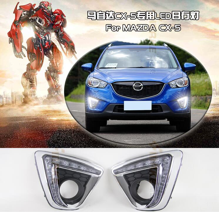 Turn off and dimming style relay E4 LED Car DRL Daytime Running Lights with fog lamp hole for Mazda CX-5 cx5 2012-2015<br><br>Aliexpress