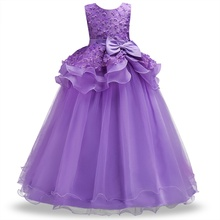 2-14 year Kids Girls Wedding Flower Girl Dress elegant Princess Party Pageant Formal Dress  Sleeveless Lace Tulle long Dress