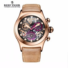Reef Tiger/RT Chronograph Sport Watches for Men Skeleton Dial with Date Three Counters Design Luminous Swiss Watches RGA792(China)
