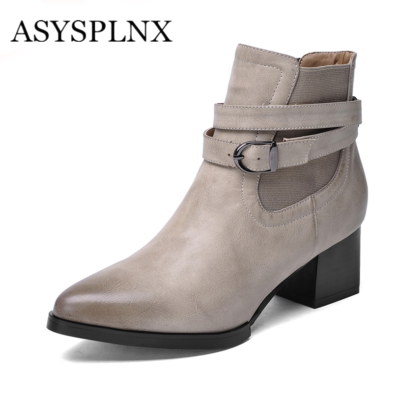 size 4.5-10 PU Flock square heel black Apricot women riding ankle boots,autumn/winter style warm pointed toe metal buckle shoes<br><br>Aliexpress
