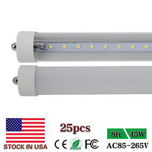 CNSUNWAY LIGHTING 8ft Led Tube Lights Single Pin T8 FA8 2400mm LED Fluorescent Tube Lamps Clear/Frosted Cover + US SHIP 25Pack(China)