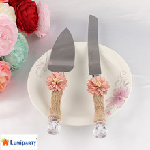 LumiParty 1 Server Set Stainless Steel Cake Knife Shovel with Natural Fibre Net Handmade Flower(China)