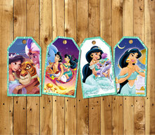 Princess Jasmine Thank you Tags,Labels,Gift Favors,Birthday party decorations kids,Party supplies Candy bag labels Baby Shower(China)