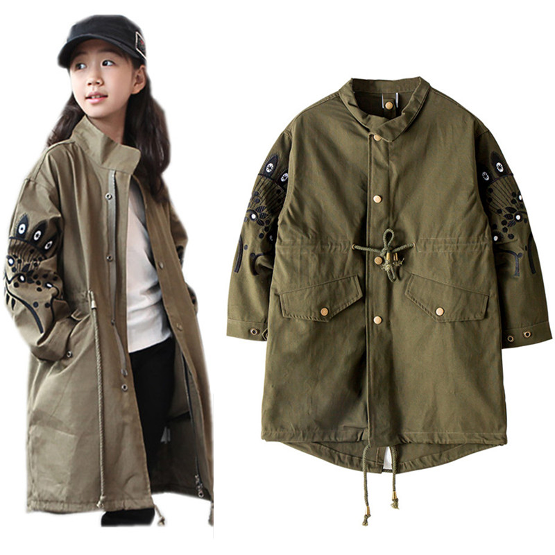 8 to 16 years kids &amp; teenager army green drawstring autumn winter long jacket &amp; coat children fashion casual outerwear clothes<br>