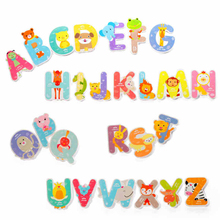 Children 3D Magnetic Puzzles Jigsaw Wooden Toys Animal Alphabet Early Education  Toys Name Affixed To Animal Modeling Letters