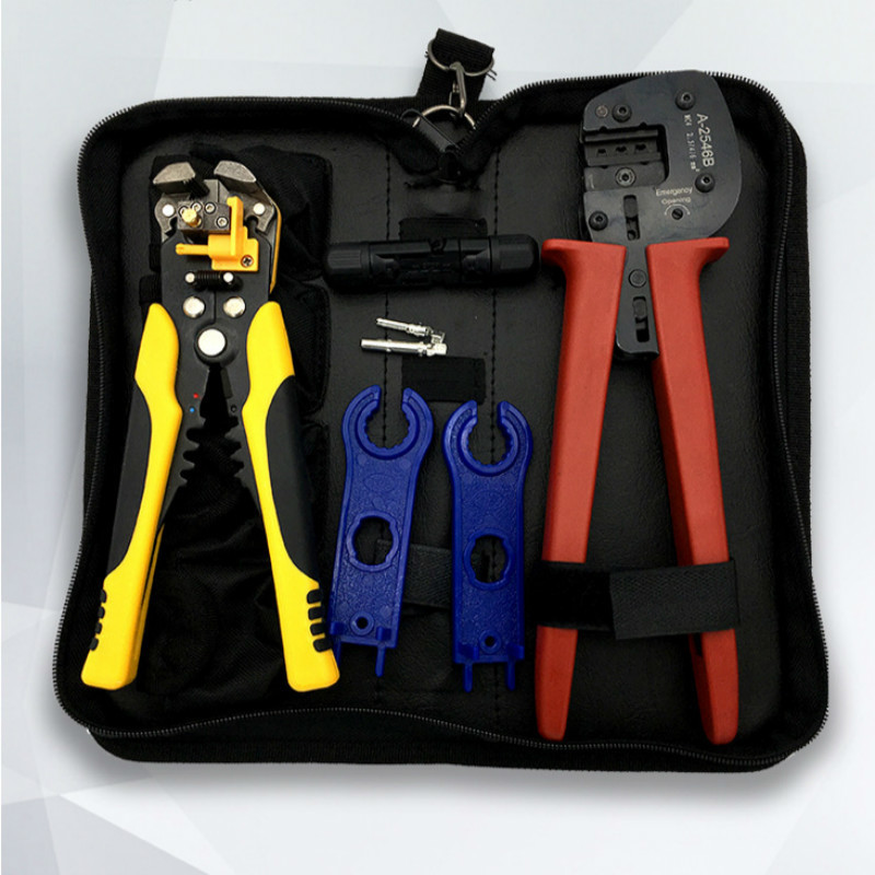 4 In 1 Wire Crimper Tools Kit   Terminal Crimping Plier  + Wrench +Terminal connector +Wire stripping pliers<br>