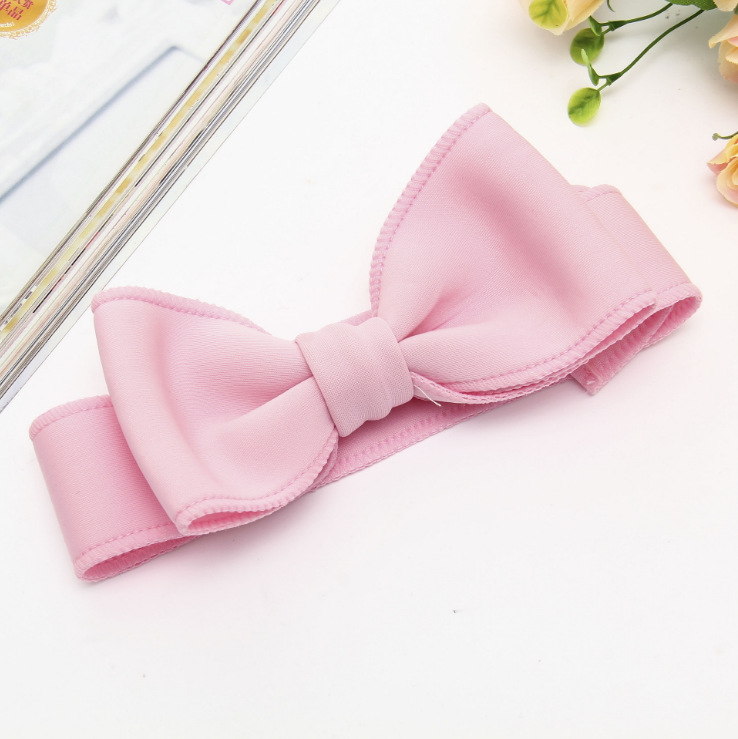 Fashion kids infant child girls head wraps tiara elastic ribbon headband satin big bows headwrap hair bands Accessories For Party (11)