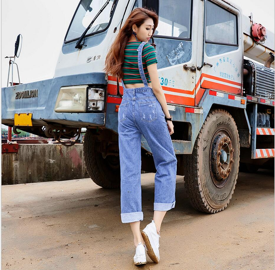 Plus size cotton cowboy denim overalls single-breasted European and American style fashion vintage ripped loose women jeans D56Одежда и ак�е��уары<br><br><br>Aliexpress