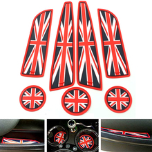 7pc Soft Silicone Red/Blue Union Jack Style Cup Holder Coasters, Side Door Compartment Mats For MINI Cooper R55 R56 R57 R58 R59(China)