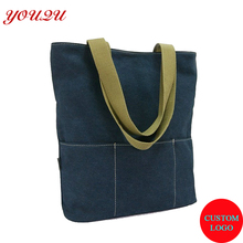 100% cotton canvas tote shopping bag with logo printing(China)