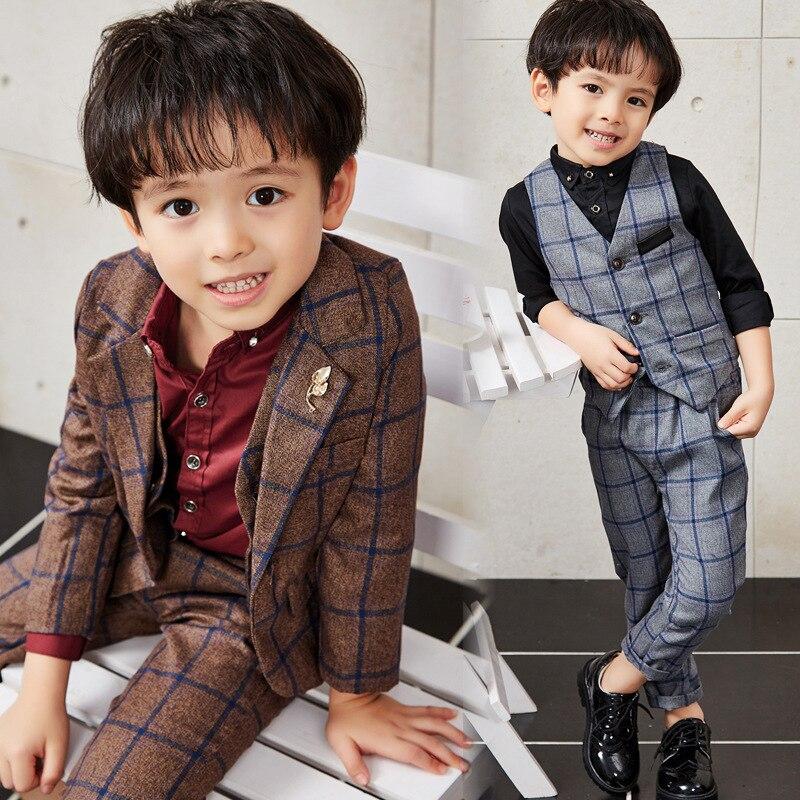 Spring Autumn Children boys Suit Set fashion Plaid  blazer suits big boy jacket+vest+pant child casual suit 3pcs<br>