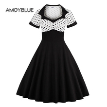 Amoyblue Classic Vintage Dresses Style Short Sleeve Polka Dot White and Black Women Retro Fifties Inspired Dresses Plus Size 4XL