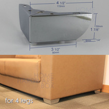 "furniture cabinet metal sofa legs table feet stainless steel chrome 4-1/2"" 115x115mm(China)"