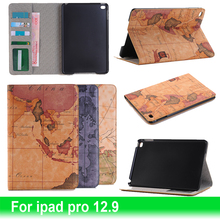 Wallet Style World Map Pattern PU Leather Flip Cases For Apple ipad pro 12.9 with Stand Tablet PC Protective Skin Plasctic Cover
