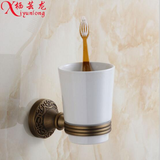 100% copper factory wholesale antique carved bathroom Tumbler Set single cup holder toothbrush holder free shipping<br>