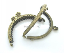 "Free Shipping-2PC Antique Bronze Flower Purse Bag Metal Frame Kiss Clasp Lock Handle 8.5x6cm(3 3/8""x2 3/8"") J2603"