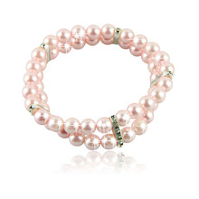 Hot Sell 2 Rows Pet Necklace Dog Collar Cat Jewelry with Pearls Rhinestones Pink Charm Dog Jewelry Free Shipping
