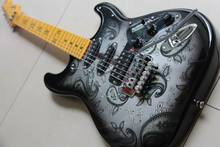 New Fdr STR Electric Guitar Transparent Pickguard 3 Pick ups Five Star Inlay Black Flower water transfer In Silver 130116
