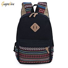Vintage Ethnic Style Girls Casual Backpacks Floral Embroidery Striped Canvas Zipper Cute Teenager Portable School Backpack