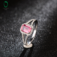 1.02ct Emerald Cut Tourmaline Halo H SI Diamond 14kt White Gold Engagement Ring Hot Sale Free shipping(China)