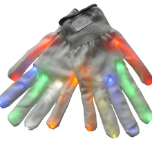 1 Pair Unisex LED Luminous Gloves 6 Modes Flashing Glow Rave Cool Light Mittens Finger Glove Halloween Party Supplies TB(China)