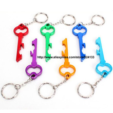 500pcs/lot free shipping free engraved logo beer bottle openers,key shaped  wine opener keychains,mixed colors