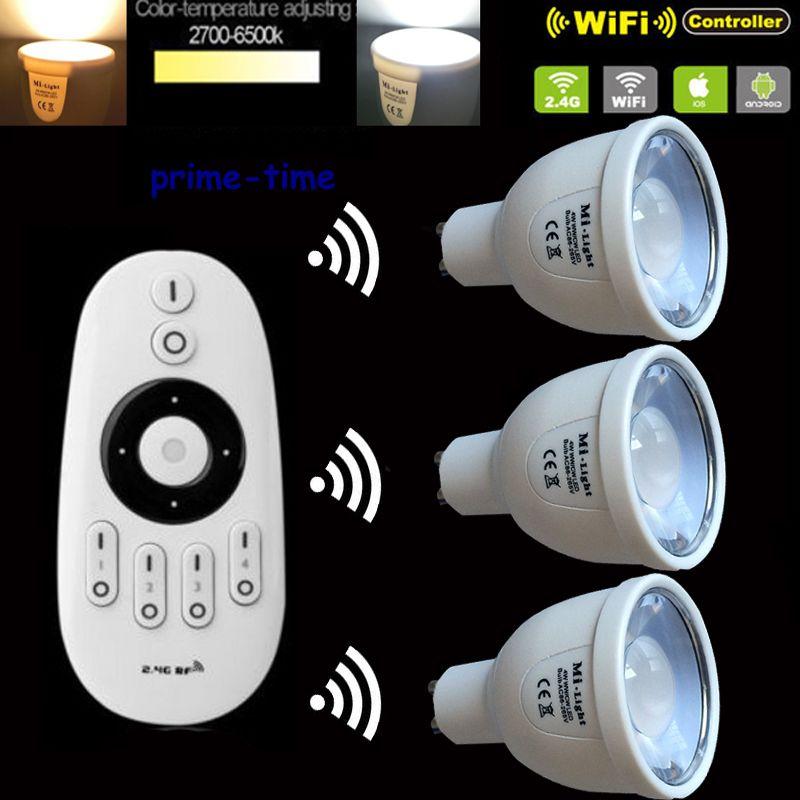 3pcs 2.4G GU10 5W CCT LED Bulb Color Temperature Adjustable Dual White WiiFi Compatible +1x2.4G Mi.Light Wireless Remote<br>