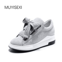 MUYISEXI Women Genuine Leather Flat Shoes Women Platform Sneakers Lace Up Loafers Gray Black 34-43 XS11C