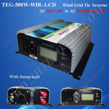 Grid Tie Wind Inverter With Dump Load And Meter-LCD 10.8V~30V DC to 90V-130/190-260V AC 500W Inverter Wind(China)