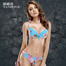 Buy TANBOGE 2016 Plus size Sexy push bikinis Padded bra Halter Neck Women bikinis stripes swimsuit Top quality Brazilian biquini