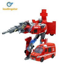 LeadingStar Red Transformation Rescue Car Fire Truck Deformation Robot Model Creative Toy for Children Boys zk30(China)