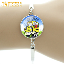 TAFREE school bus driver Bracelets kids' school bus round sticker Vector cartoo Van buses Photo Jewelry for children gifts H213(China)