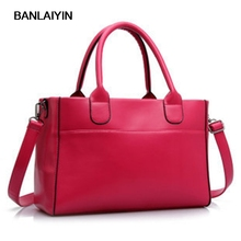 Fashion Pure Color Women Handbags Lady Zipper Big Shoulder Bag Messenger Bag Red Black(China)
