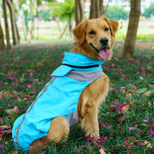 Strong Waterpoof Breathable Raincoat For A Big Dog Rose Blue Fashion Pet Large Animals Clothing Hoodie For Labrador Retriever(China)