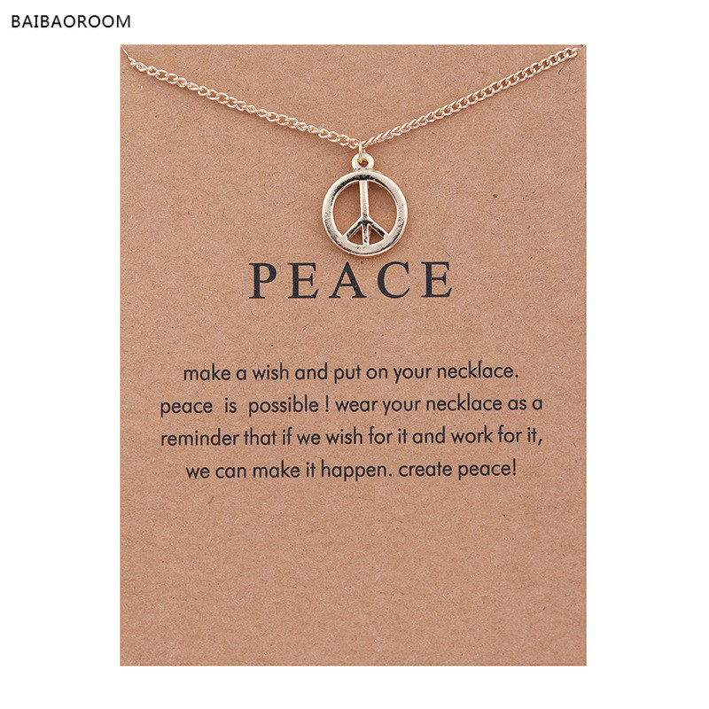 New Gold Plated Peace Sign Alloy Clavicle Bones Pendant Short Necklace