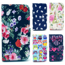 Owl Cartoon Pattern PU Leather Wallet Case for LG G2 Optimus D802 D805 D801 PhoneCase With Stand Card Holder Free shipping